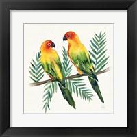 Framed Tropical Fun Bird III Leaves