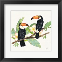 Framed Tropical Fun Bird I Leaves
