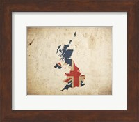 Framed Map with Flag Overlay United Kingdom