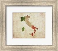 Framed Map with Flag Overlay Italy
