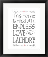 Framed Endless Love and Laundry - White