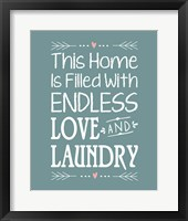 Framed Endless Love and Laundry - Blue