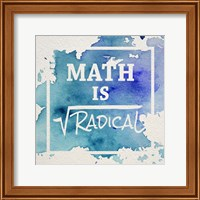 Framed Math Is Radical Watercolor Splash Blue