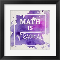 Framed Math Is Radical Watercolor Splash Purple