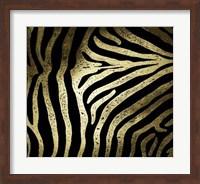Framed Gold Foil Zebra Pattern on Black