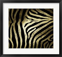 Framed Gold Foil Zebra Pattern on Black