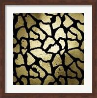 Framed Gold Foil Giraffe Pattern on Black