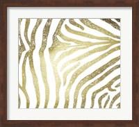 Framed Gold Foil Zebra Pattern on White