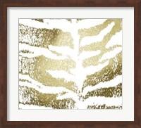 Framed Gold Foil Tiger Pattern on White
