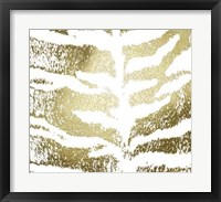 Framed Gold Foil Tiger Pattern on White