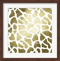 Framed Gold Foil Giraffe Pattern on White