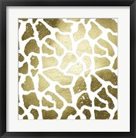 Framed Gold Foil Giraffe Pattern on White