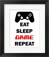 Framed Eat Sleep Game Repeat  - White