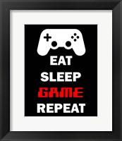 Framed Eat Sleep Game Repeat  - Black