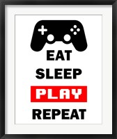 Framed Eat Sleep Game Repeat  - White and Red