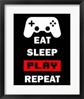 Framed Eat Sleep Game Repeat  - Black and Red