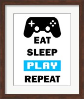 Framed Eat Sleep Game Repeat  - White and Blue