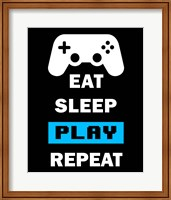 Framed Eat Sleep Game Repeat  - Black and Blue