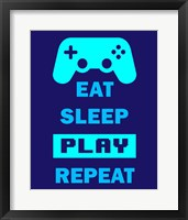Framed Eat Sleep Game Repeat  - Blue
