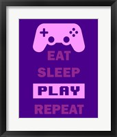 Framed Eat Sleep Game Repeat  - Purple