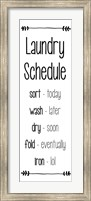 Framed Laundry Schedule  - White