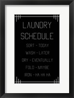 Framed Laundry Schedule  - Black Geometric