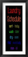 Framed Laundry Schedule  - Rainbow