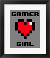 Framed Gamer Girl  - Gray
