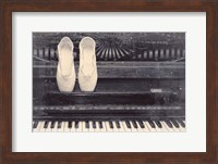 Framed Ballet Shoes And Piano Old Photo Style Dust and Scratches