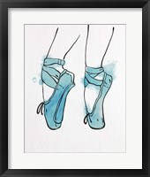 Framed Ballet Shoes En Pointe Blue Watercolor Part I