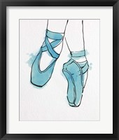 Framed Ballet Shoes En Pointe Blue Watercolor Part II