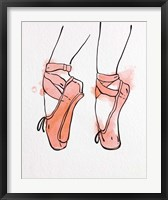 Framed Ballet Shoes En Pointe Orange Watercolor Part I