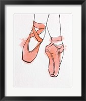 Framed Ballet Shoes En Pointe Orange Watercolor Part II