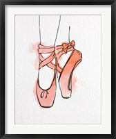 Framed Ballet Shoes En Pointe Orange Watercolor Part III