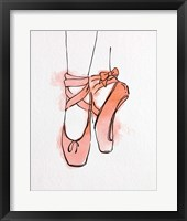 Framed Ballet Shoes En Pointe Orange Watercolor Part III