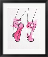 Framed Ballet Shoes En Pointe Pink Watercolor Part I