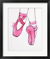 Framed Ballet Shoes En Pointe Pink Watercolor Part II