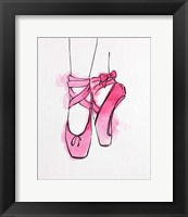 Framed Ballet Shoes En Pointe Pink Watercolor Part III