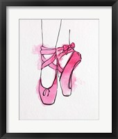 Ballet Shoes En Pointe Pink Watercolor Part III Framed Print