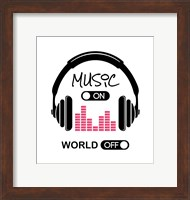 Framed Music On, World Off Headphones White Background