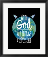 Framed With God All Things Are Possible - Watercolor Earth Black