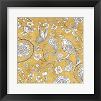 Framed Color my World Bird Paisley I Gold