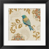 Framed Bird Rainbow Blue and Yellow