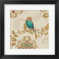 Framed Bird Rainbow Teal