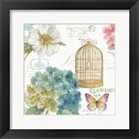 Framed Rainbow Seeds Floral Birdcage III