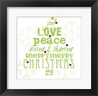 Framed Christmas White and Green