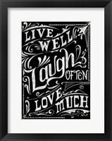 Framed Live Well Laugh Often Love Much