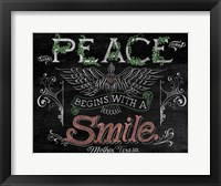 Framed Peace Begins With A Smile