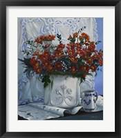 Framed Vaso Bianco con Daliette Amaranto