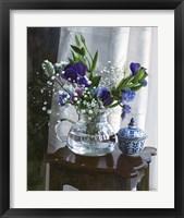 Framed Fiori Blu e Sgabello